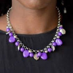 Purple and Silver Necklace Set J-141